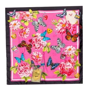 Dolce & Gabbana Pink Butterfly Floral Print Silk Square Scarf