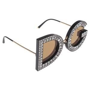 نظارة شمسية دولتشي أند غابانا عاكسة DG6121B ذهبي/بني مستديرة
