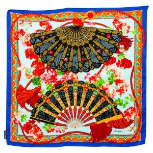 Dolce & Gabbana Blue Floral Fans Print Silk Satin Scarf