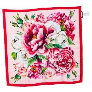 Dolce & Gabbana Pink Rose Printed Silk Square Scarf