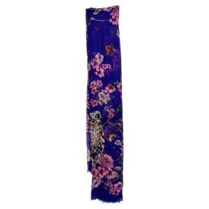 Dolce & Gabbana Purple Enchanted Forest Printed Silk Scarf