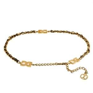 حزام دولتشي أند غابانا جلد ذهبي ميتاليك وسلسلة ذهبية اللون 105سم