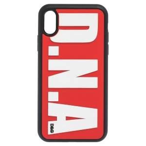 Dolce & Gabbana Black/Red Rubber D.N.A Logo iPhone XS Case