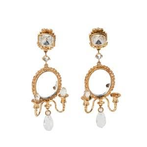 Dolce & Gabbana Crystal Gold Tone Chandelier Earrings