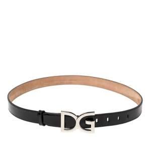 Dolce & Gabbana Black Patent Leather Logo Buckle Belt 90 CM