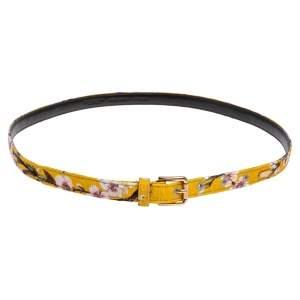 Dolce & Gabbana Yellow Floral Print Fabric Slim Belt 85 CM