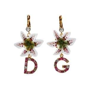 Dolce & Gabbana Lily Crystal Logo Drop Earrings