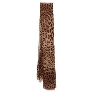 Dolce & Gabbana Brown Animal Printed Silk Scarf