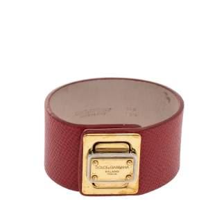 Dolce & Gabbana Gold Tone Red Leather Bracelet M