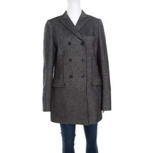 Dolce & Gabbana Monochrome Chevron Pattern Wool and Silk Coat M
