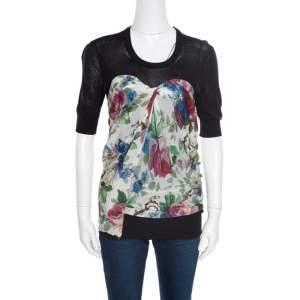 Dolce & Gabbana Black Floral Printed Drape Detail Short Sleeve top M
