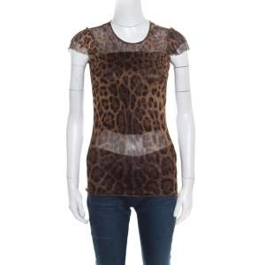 Dolce & Gabbana Brown Animal Printed Ruffled Sleeve Mesh Top S