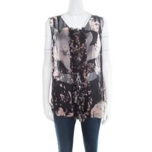 Dolce & Gabbana Black Floral Printed Sheer Silk Ruffled Applique Detail Sleeveless Top M