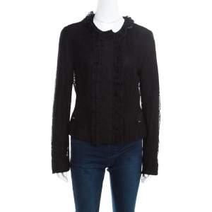 Dolce & Gabbana Black Striped Lace Ruffle Trim Button Front Jacket M