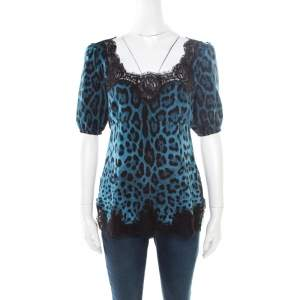 Dolce & Gabbana Blue Leopard Printed Silk Scalloped Lace Detail Blouse S