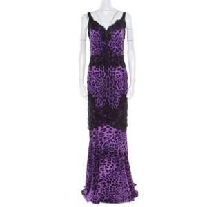 Dolce & Gabbana Purple Leopard Printed Silk Lace Trim Ruched Maxi Dress M