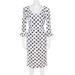 Dolce & Gabbana Monochrome Sphere Printed Midi Dress M