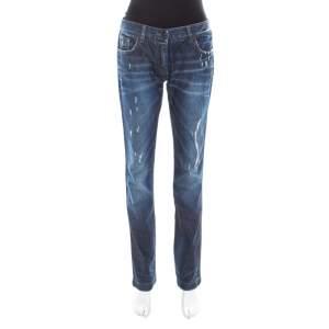 Dolce & Gabbana Indigo Washed Denim Distressed Straight Fit Jeans M