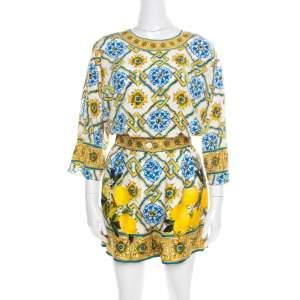 Dolce & Gabbana Majolica Printed Silk Top and Shorts Set S