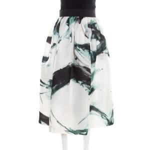 Dolce & Gabbana White Brushstroke Printed Organza Midi Skirt M