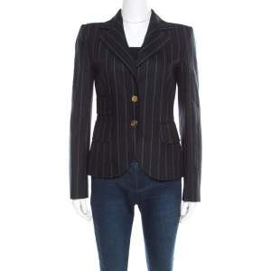Dolce & Gabbana Navy Blue and Grey Striped Wool Tailored Blazer S