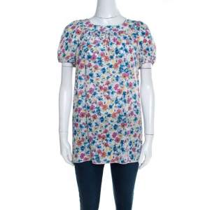 Dolce & Gabbana White Floral Printed Gathered Puff Sleeve Blouse S