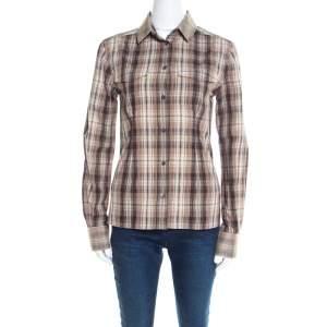 Dolce & Gabbana Brown Checked Cotton Organza Trim Shirt S