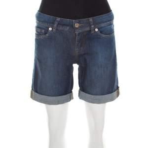Dolce & Gabbana Indigo Dark Wash Denim Cuffed Hem Shorts S