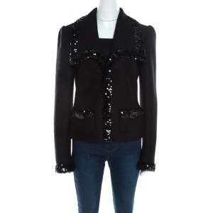 Dolce & Gabbana Black Wool Sequined Edge Blazer M