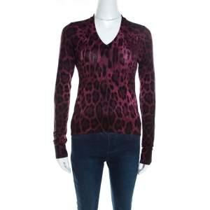 Dolce & Gabbana Mulberry Purple Leopard Print Wool Sweater Top S