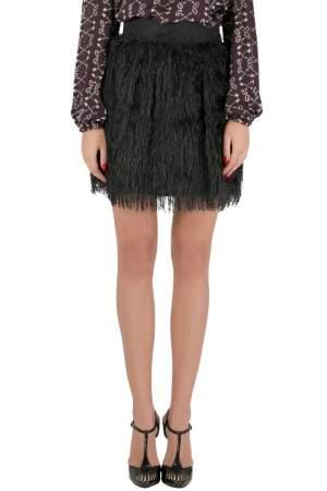 Dolce & Gabbana Black Textured Fringed Mini Skirt S