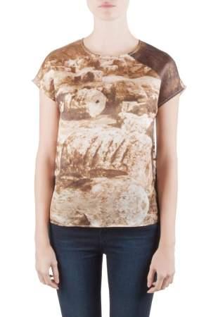Dolce & Gabbana Sepia Brown Ruins Print Silk Boxy Blouse S