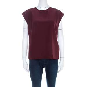 Dolce & Gabbana Garnet Red Silk Cap Sleeve Blouson Top M
