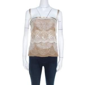 Dolce & Gabbana Beige Tiered Lace Overlay Silk Blend Bustier Top M