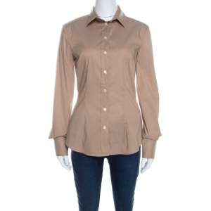 Dolce & Gabbana Brown Cotton Button Front Long Sleeve Shirt M