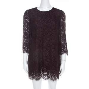 Dolce & Gabbana Brown Lace Three Quarter Sleeve Tunic Top M