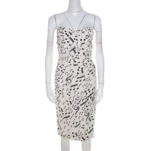 Dolce & Gabbana White and Black Musical Note Printed Silk Strapless Dress S