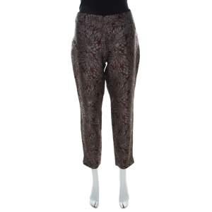 Dolce & Gabbana Burgundy Lurex Floral Silk Jacquard Cropped Pants M