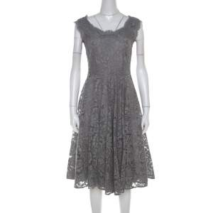 Dolce & Gabbana Grey Lace Sleeveless Flared Dress S