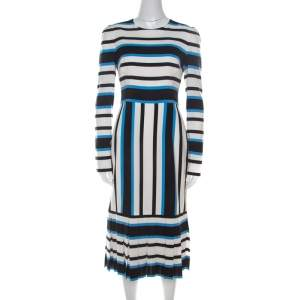 Dolce & Gabbana Multicolor Striped Silk Pleat-Detail Midi Sheath Dress S
