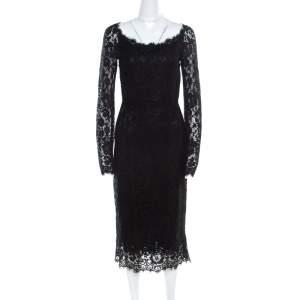 Dolce & Gabbana Black Lace Detail Full Sleeve Midi Dress S