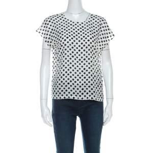 Dolce & Gabbana Monochrome Brushstroke Polka Dot Print Silk Blouse M
