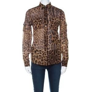 Dolce & Gabbana Brown Leopard Print Cotton and Silk Button Front Shirt S