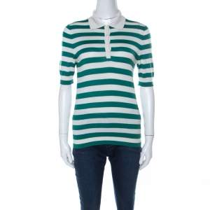 Dolce & Gabbana Green and Off White Cashmere Striped Polo T Shirt M
