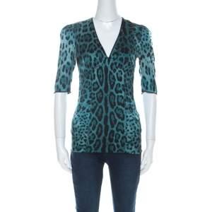 Dolce & Gabbana Blue Stretch Silk Leopard Print Three Quarter Sleeve Top S