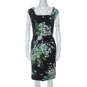 Dolce & Gabanna Black Floral Print Moss Crepe Cap Sleeve Sheath Dress S