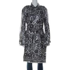 Dolce & Gabbana Grey Coated Silk Floral Lace Pattern Raincoat M