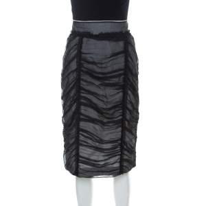 Dolce & Gabbana Black & White Silk Blend Ruched Detail Skirt M