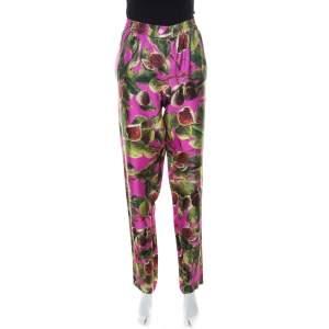 Dolce & Gabbana Pink Fig Print Silk Elasticized Waist Pants M