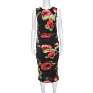 Dolce & Gabbana Floral Print Ruched Sleeveless Dress M